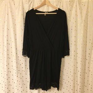 ASOS Curve 3/4 Sleeve Lace Black Romper